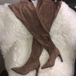 Tan nude suede thigh high boots